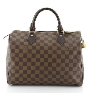 Speedy Handbag 30 Brown Damier Ébène Canvas Satche